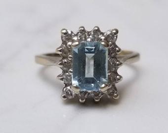 Aquamarine Diamond 14K White Gold Ring Size 5 by Effy, Emerald Cut, Halo, Anniversary, March Birthstone, Cocktail, Statement, Right Hand