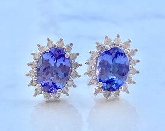Estate Tanzanite Diamond Studs in 14k Gold, Halo, Two (2) Carats, Bridal Jewelry, Wedding, Gift for Her, Purple Gemstone, Anniversary