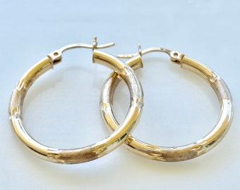 14k Gold One Inch Hoops, Vintage Style Hoop Earrings