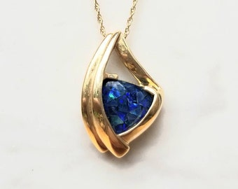 Vintage Opal Gold Necklace Pendant 10K Mosaic Doublet 18 Inch Chain/ Gift for Her/ Bridal/ Wedding/ Fine Jewelry/ Bridesmaid/ Birthday