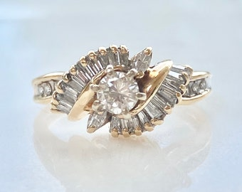 Vintage Diamond Engagement 14k Gold Ring, Round Diamond with Baguette Accents, Size 5, One Carat TDW