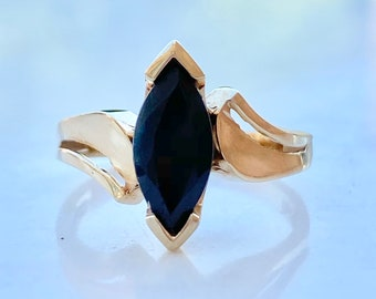 Vintage Style Engagement Ring, One Carat (1.0 ct.) Sapphire, Size 5, Marquise Cut, Solitaire, 10K Gold, Blue Gemstone