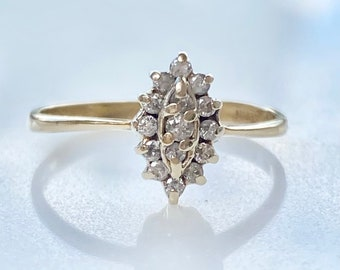 Vintage Diamond Cluster 14k Gold Ring .15 TCW, Petite Engagement, Stacking Ring Size 6 1/2