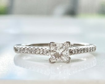 Vintage Princess Cut Diamond Engagement Ring with Diamond Accents Size 7, .59 TCW