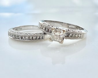 Vintage Diamond Engagement Ring and Wedding Band Set in 18K Gold Size 5, Princess Solitaire, Two Ring Matching Set