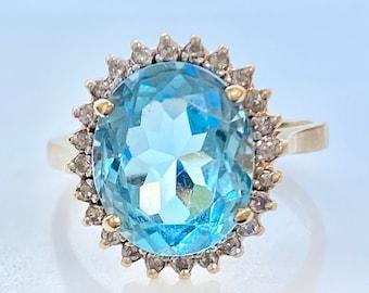 Diamond Blue Topaz 14k Gold Ring, 6 Carats, Statement, Cocktail, Size 7