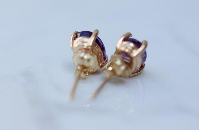 Estate 14kt Yellow Gold Purple Amethyst Oval Pierced Stud Earrings  Stud Earrings  February Birthstone