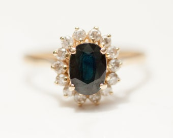 Vintage Large Sapphire and Diamond Halo Engagement Ring in 14k Solid Yellow Gold, Size 8 // Princess Di Ring // Kate Middleton Ring //