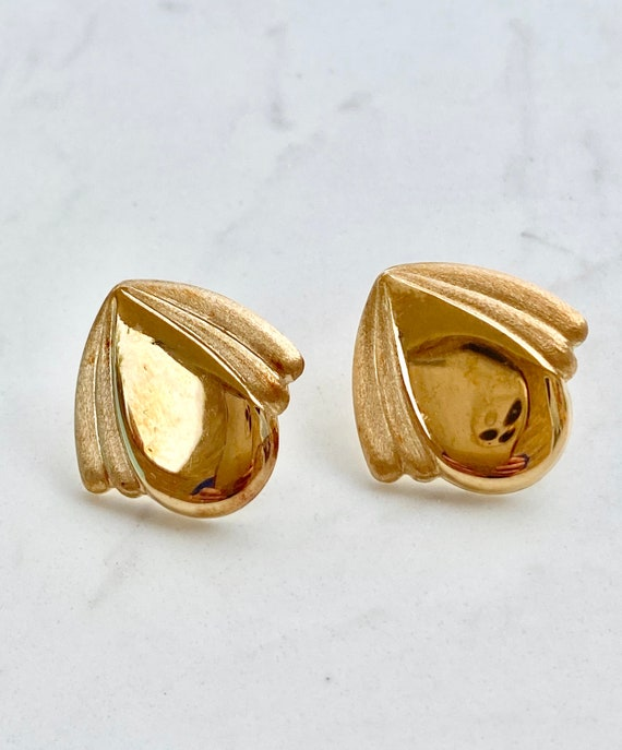 Gold Triangle Studs Gold Triangle Earrings Large Studs 1980/'s Studs Large 1980/'s Studs Large Gold Studs Large Triangle Studs