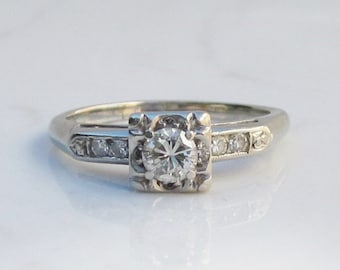 Vintage 18k Solid White Gold Solitaire Diamond and Accent Diamond Engagement or Wedding Ring with .40 Carat Total Diamond Weight, Size 6.5
