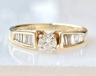 Vintage Diamond Solitaire Engagement Ring in 14k Gold, Half Carat, Round Brilliant Cut with Diamond Baguette Accents, .51 TCW., Size 4 1/2