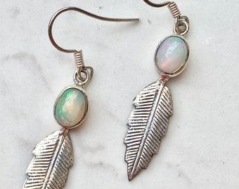 Vintage Opal Sterling Silver Leaf Drop Dangle Earrings, Gift for Her, Bohemian, Artesian