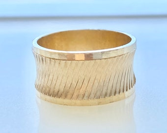 Wide 14k Gold Wedding Band with Etched Design, Size 7, 10 mm Wide