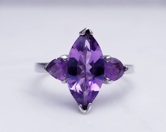 2 Two Carat (tgw) Amethyst Marquise and Trillion Cut set in 10k White Gold Size 6/ February Birthstone/ Gift for Her/ Purple Gem/ Engagement