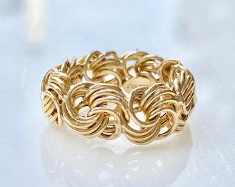 Byzantine Ring 10k Yellow Gold Size 5, Wide Wedding Band, Stacking Ring