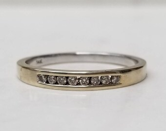 Vintage 14k Solid White Gold Diamond Accented Wedding Band, Anniversary, Stacking Band Ring, Size 6 1/2, Channel Set Diamonds