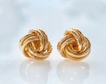 Gold Knot Earrings, 10K Gold, Studs, Classic Vintage Sty