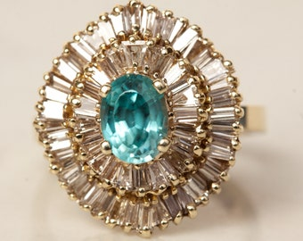 Vintage 14k Yellow Gold and Diamond Baguette Halo Blue Zircon Double Halo Ballerina Engagement Ring - 3.51 Carats Total Gem Weight, Size 6.5