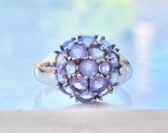 Vintage Tanzanite Cluster Ring, 10k White Gold, Size 6, Round, One Carat, Purple Gemstone, Gift for Her, Dome Ring, Fine Jewelry, Bridal