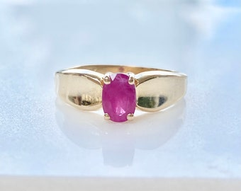 Ruby Engagement Ring, 14k Gold, Solitaire, Size 5 1/2, Vintage Style