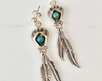 Vintage Sterling Silver Turquoise Bear Claw, Feather Drop Dangle Pierced Earrings, Gift for Her, Bohemian, Tribal, Southwestern Earrings