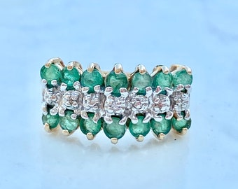 Vintage Emerald Ring 10k Gold, Diamond Accents, Size 5, Half Carat, May Birthstone, Cluster ring, Stacking Band, Wedding, Gift for Her