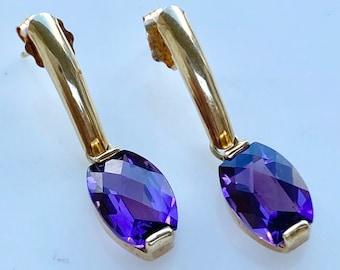 Amethyst 14k Gold Drop Earrings, Two Carats