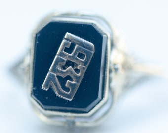 Art Deco 1932 Flip Ring Two Rings in One Onyx and Carved Cameo in 14k Solid White Gold Filigree Setting, Size 6.5