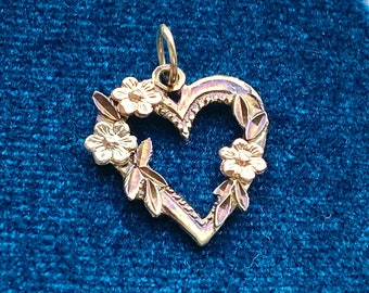 Black Hills Gold 14k Gold Pendant for Necklace, Flowers, Heart, Romantic, Boho