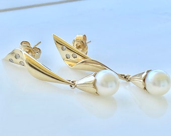 Pearl Diamond 14k Gold Drop Earrings, Wedding, Bridal, Vintage Style
