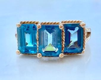 Vintage London Blue Topaz Ring, Three Carats, Emerald Cut, Three Stone, Size 5, 10K Gold, Blue Gemstone, November Birthstone, Gift for Her