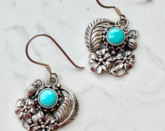 Vintage Turquoise Sterling Silver Drop Earrings, Leave and Flowers, Tribal, Southwest, Bohemian, Large Dangle, Wedding, Gift for Her, Bridal