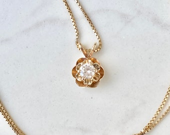 Vintage Diamond 18k Gold Necklace, Solitaire, Drop Pendant .20 Ct, Buttercup Setting, Gift for Her, Round Brilliant, 17 Inch Chain