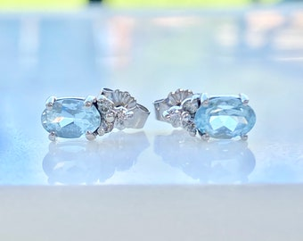 Aquamarine and Diamond Earrings Studs, 14k Gold, Petite