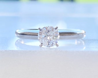 Diamond Engagement Ring 14k Gold, Solitaire, Round Cut, .48 Ct., D Color, Half Carat, Promise, Wedding, White Gold