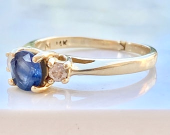 Sapphire Diamond Engagement Ring, 14K Gold, Size 6 1/2, Solitaire, Blue Gemstone, Gift, Mother, Wedding, Three Stone, Bridal