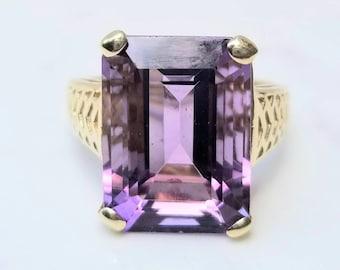 Retro Huge Amethyst 14K Yellow Gold Ring, 10 (Ten) Plus Carats, Emerald Cut, February Birthstone,  Size 9, Purple Gemstone, Statement Ring