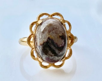Banded Agate Ring, Landscape Agate in Yellow Gold Filled Setting, Large Cabochon Statement Ring