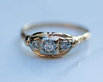 Antique 1930s Art Deco Diamond Illusion Setting Engagement Ring in 14k and 18k Solid White and Solid Yellow Gold, Size 6.5