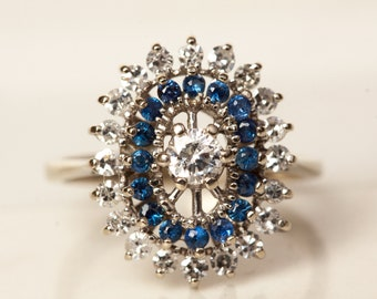Vintage Midcentury Diamond and Sapphire Cluster Halo Low Profile Engagement Ring set in 14k Solid White Gold, Size 5