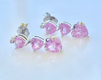 Pink Sapphire Diamond Drop Earrings, Descending Hearts in White Gold, Two Carats Total Gemstones