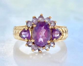 Vintage Amethyst Tanzanite 10k Gold Cluster Ring Size 6, February Birthstone, Cocktail, Purple Gemstone, Gift for Her. Two (2) Carats, Halo