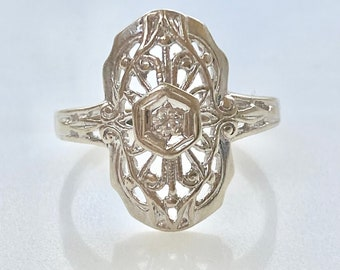 Diamond Shield Ring 14k Gold, Filigree, Antique style, Engagement Ring