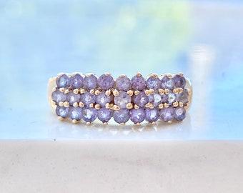 Tanzanite Wedding Band, 10k Gold, Wide, .25 Ct., Stacking Ring, Purple Gemstone, Size 5, Anniversary, Gift for Her, Bridal, Birthday