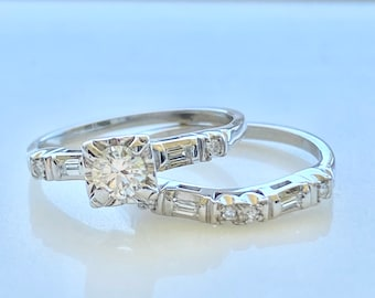 Diamond Wedding Set, 14k Gold, Engagement Ring And Matching Wedding Band, Size 6, 1940's Vintage Style