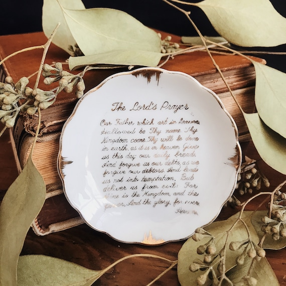Tiny Handpainted White and Gold Foil Lord's Prayer Ring Dish Catch All  China Plate