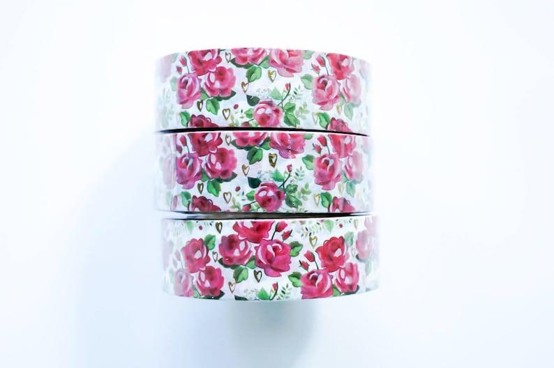 Bullet Journal Floral Rose Heart Foil Washi Tape Masking Tape Mini Album Scrapbooking kawaii school supplies. Office Desk Accessories