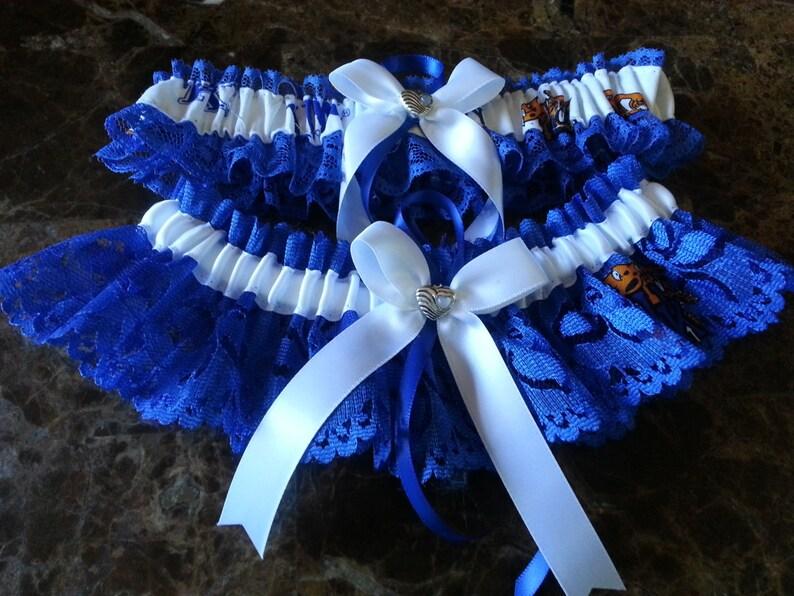 University of Kentucky blue Lace Wedding Garter set