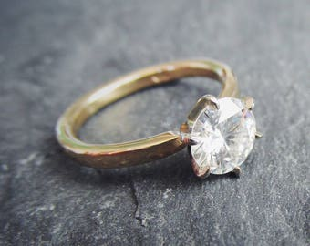 Solitaire Diamond Engagement Ring. 6 Prong Hammered Band Two Tone Diamond or Forever One Moissanite. Custom Made To Order