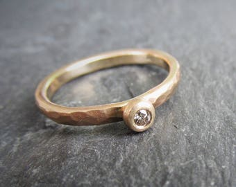 Brown Diamond Pebble Ring. Stacking 14K Gold and Natural Diamond Flush Set. Eco Friendly, Recycled, Conflict Free. Made To Order